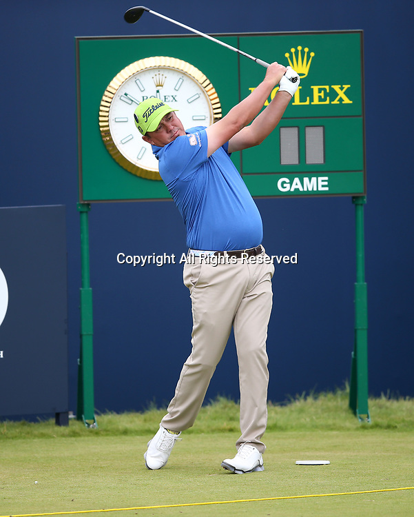 July 19th 2017, Royal Birkdale Golf Club, Southport, England; The 146th Open Golf Championship, Final Practice Day; Jason Dufner (USA) drives from the first tee