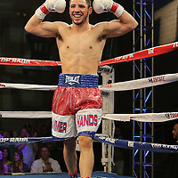 TAMPA, FL - FEBRUARY 28:  Julian Rodriguez celebrates after defeating Raul Tovar during the SoloBoxeo Tecate boxing match at the University of South Florida Sundome on February 28, 2015 in Tampa, Florida. Rodriguez won the bout by knocking down Tovar three times in the first round.  (Photo by Alex Menendez/Getty Images) *** Local Caption *** Julian Rodriguez; Raul Tovar