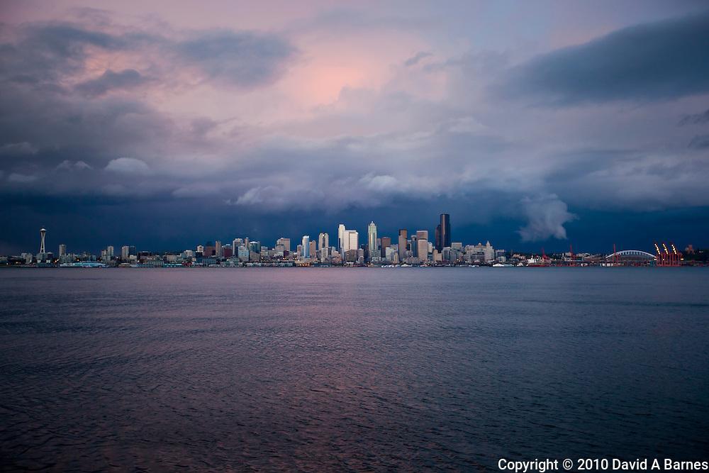 Stormy sky behind Seattle, Elliott Bay, Washington, USA