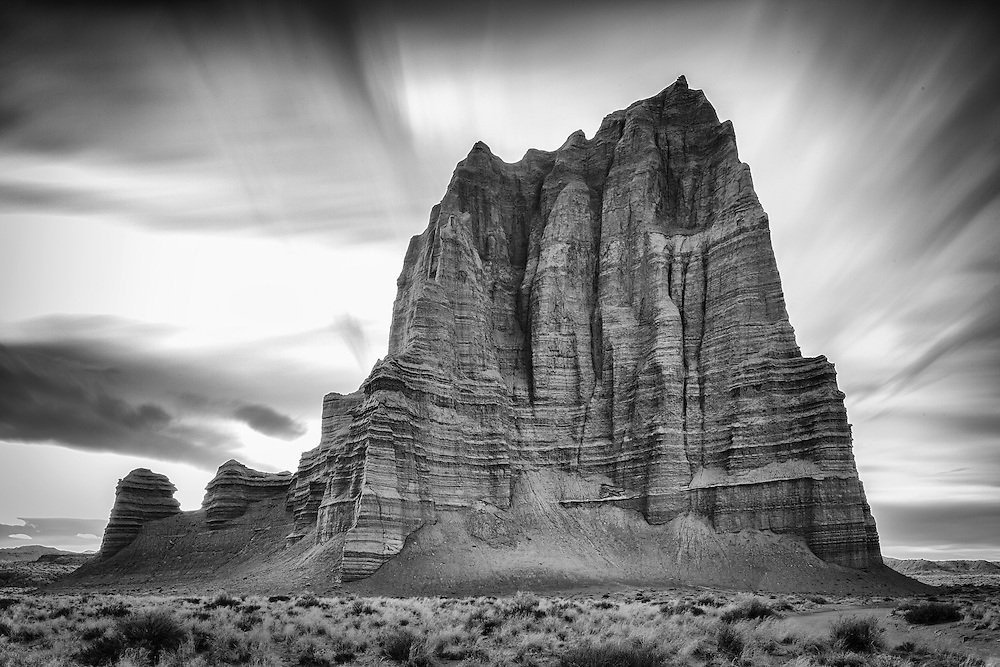 The Temple of the Sun at sunset in the Capital Reef National Park, Utah.
