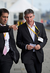 """© London News Pictures. 25/09/2012. Brighton, UK.  L to R Dr Evan Harris (former Lib Dem MP), and  Actor Steve Coogan arriving at the Liberal Democrat Conference in Brighton on September 25, 2012 to meet Deputy Prime Minister Nick Clegg to discuss the """"Hacked Off"""" campaign. Photo credit : Ben Cawthra/LNP."""