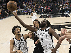March 1, 2018 - Sacramento, CA, USA - The Brooklyn Nets' DeMarre Carroll (9) goes to the basket against the Sacramento Kings' Skal Labissiere at the Golden 1 Center in Sacramento, Calif., on Thursday, March 1, 2018. (Credit Image: © Hector Amezcua/TNS via ZUMA Wire)