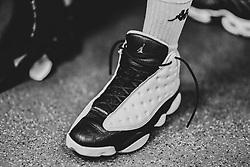 Jalan McCloud of Bristol Flyers sneakers - Photo mandatory by-line: Ryan Hiscott/JMP - 03/11/2018 - BASKETBALL - SGS Wise Arena - Bristol, England - Bristol Flyers v Newcastle Eagles - British Basketball League Championship