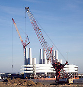 Cranes and wind turbine components, Outer Harbour, Port of Great Yarmouth, England