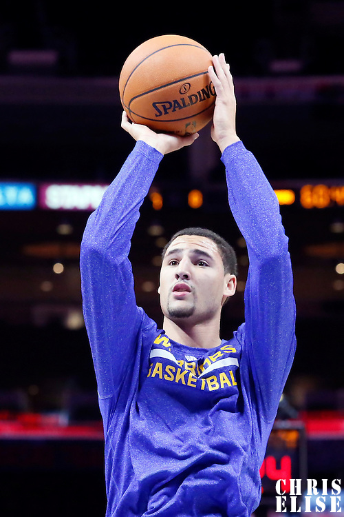07 October 2014: Golden State Warriors guard Klay Thompson (11) warms up prior to the Golden State Warriors 112-94 victory over the Los Angeles Clipper, in preseason opener, at the Staples Center, Los Angeles, California, USA.