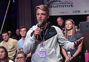 Jan 18, 2019; Sparks, NV, USA; Garrett Starkey speaks at the UCS Spirit National Pole Vault Summit general assembly at the Nugget Casino Resort.