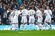 Leeds United players huddle during the EFL Sky Bet Championship match between Leeds United and Queens Park Rangers at Elland Road, Leeds, England on 2 November 2019.