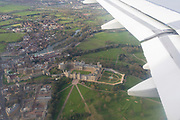 From the window seat of an Airbus A319, Windsor Castle in southern England, on 26th March 2017, near Heathrow airport,  London, England.