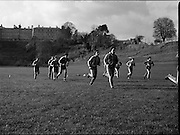 Ireland Soccer Team Training.1983.14.11.1983.11.14.1983.14th November 1983..The Ireland Soccer team trained, for the forthcoming match against Malta, at Stewarts Hospital,Palmerstown Dublin..Picture of some of the players jogging include, Kevin Moran,Frank Stapleton,Seamus McDonagh,Chris Hughton and Kevin Sheedy.