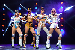 "© Licensed to London News Pictures. 11/05/2012. London, England. L-R: Ruthie Stephens as Dinah, Kelsey Cobban as Duvay, Camilla Hardy as Buffy and Amanda Coutts as Pearl. Andrew Lloyd Webber's rock musical ""Starlight Express"" opens at the New Wimbledon Theatre with a new cast before embarking on a UK tour. Choreography by Arlene Phillips. With Kristofer Harding as Rusty, Mykal Rand as Electra, Lothair Eaton as Poppa, Amanda Coutts as Pearl, Ruthie Stephens as Dinah, Kelsey Cobban as Duffy, Camilla Hardy as Buffy and Jamie Capewell as Greaseball. Photo credit: Bettina Strenske/LNP"