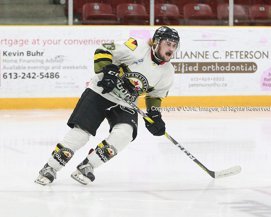 TRENTON, ON  - MAY 5,  2017: Canadian Junior Hockey League, Central Canadian Jr. &quot;A&quot; Championship. The Dudley Hewitt Cup. Game 7 between Georgetown Raiders and the Powassan Voodoos.  Tyson Gilmour #23 of the Powassan Voodoos follows the play during the first period.<br /> (Photo by Tim Bates / OJHL Images)