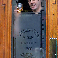 Derek Brown of Famous Grouse Whisky who are appealing for old 'Grouse related items' for the new 'Famous Grouse experience being constructed at Glenturret Distillery.<br />Derek is pictured with original stained glass doors from the Matthew Gloag Distillery<br />See press release by Jackie Martin on 01738 493640<br /><br />Picture by Graeme Hart.<br />Copyright Perthshire Picture Agency<br />Tel: 01738 623350  Mobile: 07990 594431