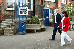 Jeremy Corbyn turns out to vote at his local polling station, accompanied by his wife Laura Alvarez.<br /> <br /> Richard Hancox | EEm 23052019