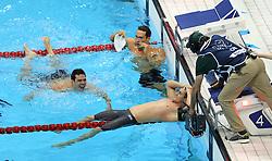 29th July 2012 - London 2012 Olympic Games - Swimming - Men's 100m Breaststroke Final - Cameron van de Burgh (RSA) celebrates victory - Photo: Simon Stacpoole / Offside./SPORTZPICS