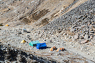 Island Peak Base Camp on the side of the Lhotse Shar Glacier at Pareshaya Gyab at 4970 metres.