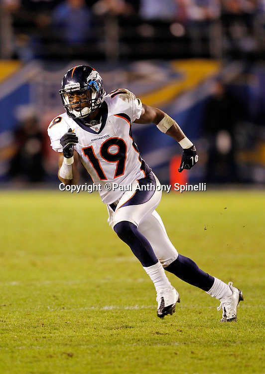 Denver Broncos wide receiver Eddie Royal (19) goes out for a pass during the NFL week 11 football game against the San Diego Chargers on Monday, November 22, 2010 in San Diego, California. The Chargers won the game 35-14. (©Paul Anthony Spinelli)