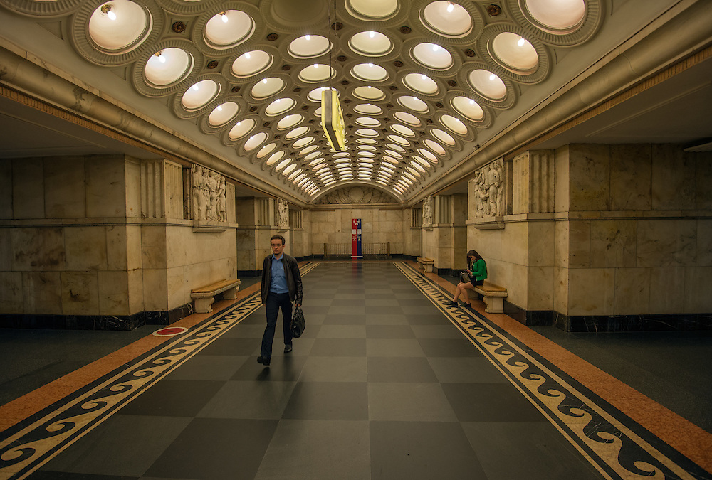 Elektrozavodskaya Metro Station, named after the electric light bulb factory nearby, the station opened in 1944.