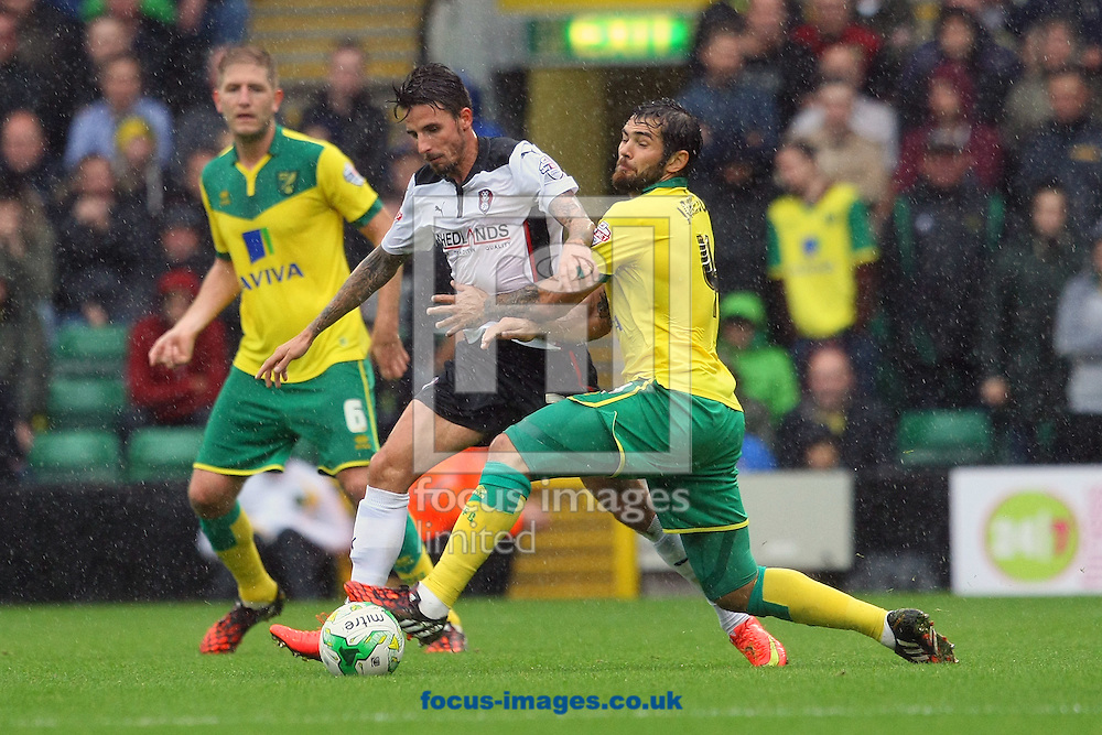 Bradley Johnson of Norwich and Matt Derbyshire of Rotherham United in action during the Sky Bet Championship match at Carrow Road, Norwich<br /> Picture by Paul Chesterton/Focus Images Ltd +44 7904 640267<br /> 04/10/2014