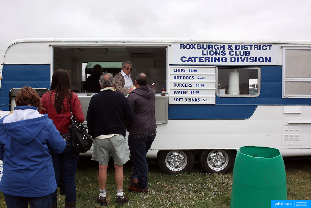 A food caravan at the Roxburgh Trotting Club Summer Festival Races, Roxburgh, Otago, New Zealand. 5th January 2012