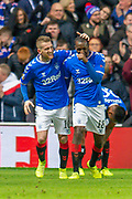 Steven Davis (#10) of Rangers FC celebrates with Glen Kamara (#18) of Rangers FC after scoring the second goal during the Group G Europa League match between Rangers FC and FC Porto at Ibrox Stadium, Glasgow, Scotland on 7 November 2019.