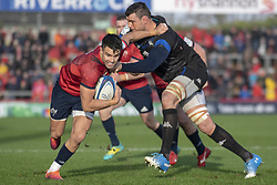 December 9, 2018 - Limerick, Ireland - Conor Murray of Munster tackled by Thibault Lassalle of Castres during the Heineken Champions Cup Round 3 match between Munster Rugby and Castres Qlympique at Thomond Park Stadium in Limerick, Ireland on December 9, 2018  (Credit Image: © Andrew Surma/NurPhoto via ZUMA Press)