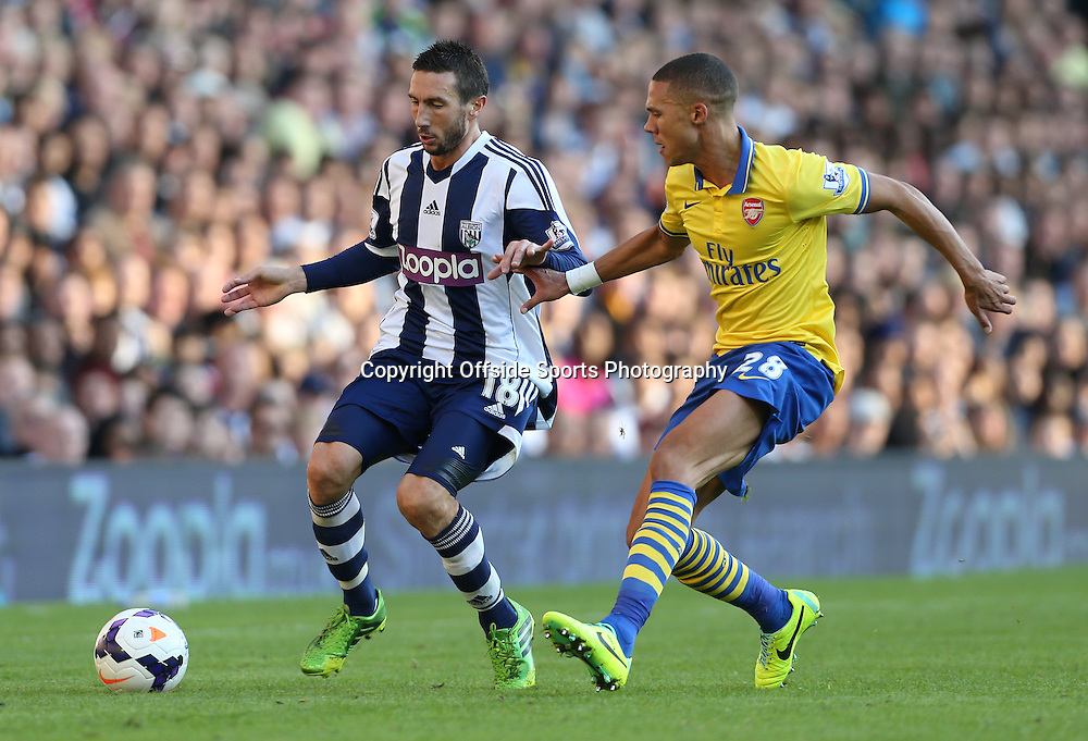 6th October 2013 - Barclays Premier League - West Bromwich Albion v Arsenal - Morgan Amalfitano of West Brom battles with Kieran Gibbs of Arsenal - Photo: Simon Stacpoole / Offside.