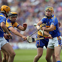 Clare's Tony Griffin trying to squeeze through Tipperary's Shane McGrath and Seamus Callanan during their Munster Senior Hurling Championship Semi-Final clash in the Gaelic Grounds in Limerick on Sunday.<br /> Photograph by Yvonne Vaughan.