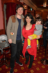 SHAPPI KHORSANDI and ANDY HICKMAN and daughter GENEVIEVE at an after show party following the opening of Peter Pan at the New Wimbledon Theatre, 93 The Broadway, London on 8th December 2015.