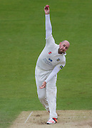 Chris Rushworth  (Durham County Cricket Club) in bowling action during the LV County Championship Div 1 match between Durham County Cricket Club and Hampshire County Cricket Club at the Emirates Durham ICG Ground, Chester-le-Street, United Kingdom on 3 September 2015. Photo by George Ledger.