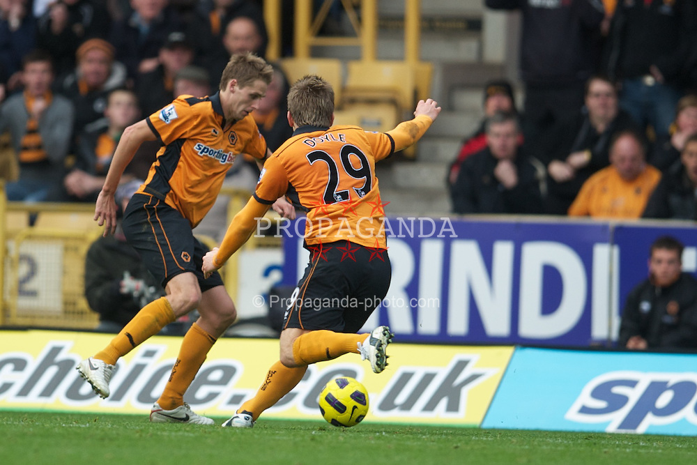 WOLVERHAMPTON, ENGLAND - Saturday, October 30, 2010: Wolverhampton Wanderers' David Edwards (hidden left) scores the second goal past Manchester City's goalkeeper Joe Hart during the Premiership match at Molineux. (Pic by: David Rawcliffe/Propaganda)