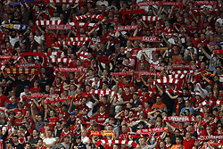 fans of Liverpool FC during the UEFA Champions League final between Real Madrid and Liverpool on May 26, 2018 at NSC Olimpiyskiy Stadium in Kyiv, Ukraine