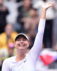 TIANJIN, Oct. 15, 2017  Maria Sharapova of Russia greets the spectators after the women's singles final match against Aryna Sabalenka of Belarus at the 2017 WTA Tianjin Open tennis tournament in north China's Tianjin Municipality, Oct. 15, 2017. Maria Sharapova won 2-0 to claim the title. (Credit Image: © Yue Yuewei/Xinhua via ZUMA Wire)