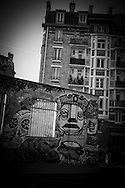 Paris, 19th district, Mural art on Canal de l Ourcq at sunset / Canal de l'Ourcq , art mural
