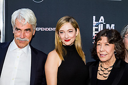 LOS ANGELES, CA - JUNE 10: Actors Sam Elliot, Amand Edards and Lily Tomlin attend the opening night premiere of 'Grandma' during the 2015 Los Angeles Film Festival at Regal Cinemas L.A. Live on June 10, 2015. Byline, credit, TV usage, web usage or linkback must read SILVEXPHOTO.COM. Failure to byline correctly will incur double the agreed fee. Tel: +1 714 504 6870.