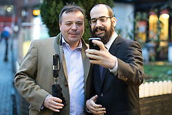 © Licensed to London News Pictures . 06/02/2017. Stoke-on-Trent, UK. ARRON BANKS and SHNEUR ODZE (UKIP Metro Mayoralty candidate) seen inside the UKIP shop in Hanley this afternoon , 6th February 2017 . Former UKIP leader Nigel Farage will join current leader Paul Nuttall at a public meeting at Victoria Hall in Hanley , during Nuttall's campaign to win the seat of Stoke-on-Trent Central . Photo credit: Joel Goodman/LNP