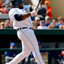 Feb 23, 2013; Lakeland, FL, USA; Detroit Tigers first baseman Prince Fielder (28) grounds out during the bottom of the fifth inning of a spring training game against the Toronto Blue Jays at Joker Marchant Stadium. Mandatory Credit: Derick E. Hingle-USA TODAY Sports
