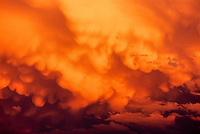 Cumulonimbus storm clouds at sunset; Colorado