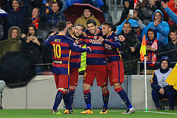 Luis Suarez of Barcelona celebrates after scoring with Neymar and Messi - Mandatory byline: Matt McNulty/JMP - 16/03/2016 - FOOTBALL - Nou Camp - Barcelona,  - FC Barcelona v Arsenal - Champions League - Round of 16