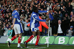 PORTSMOUTH, ENGLAND - SATURDAY, DECEMBER 9th, 2006: Kanu of Portsmouth celebrates scoring the second Portsmouth goal against Everton during the Premiership match at Fratton Park. (Pic by Chris Ratcliffe/Propaganda)