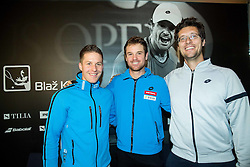 Blaz Kavcic, tennis player of Slovenia (C) with his coaches Klemen Jakse and Miha Mlakar during press conference after the end of season, on December 17, 2015 in Tennis Academy Breskvar, Ljubljana, Slovenia. Photo by Vid Ponikvar / Sportida