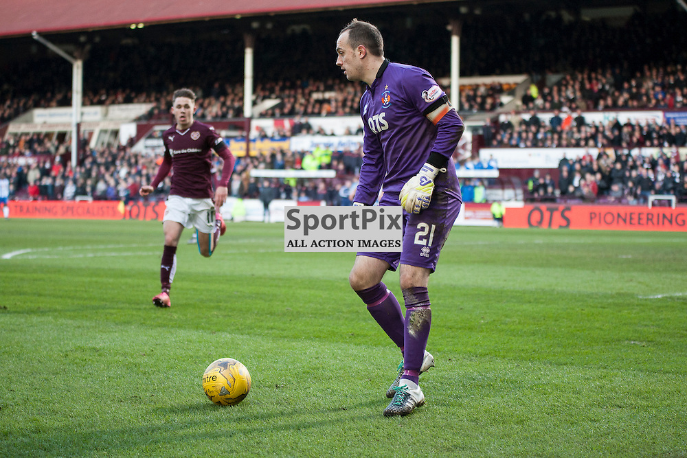 Hearts v Kilmarnock, Scottish Premiership, 27 February 2016, Jamie MacDonald (Kilmarnock, 21) goes to clear the ball during the Hearts v Kilmarnock Scottish Premiership match played at Tynecastle Stadium, © Chris Johnston | SportPix.org.uk