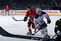 PENTICTON, CANADA - SEPTEMBER 8: Trey Fix-Wolansky #66 of Edmonton Oilers skates along the boards during first period against the Calgary Flames on September 8, 2017 at the South Okanagan Event Centre in Penticton, British Columbia, Canada.  (Photo by Marissa Baecker/Shoot the Breeze)  *** Local Caption ***