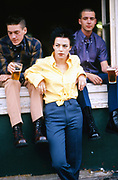 Girl and Boys Drinking, Highgate, London, UK, 1980s.