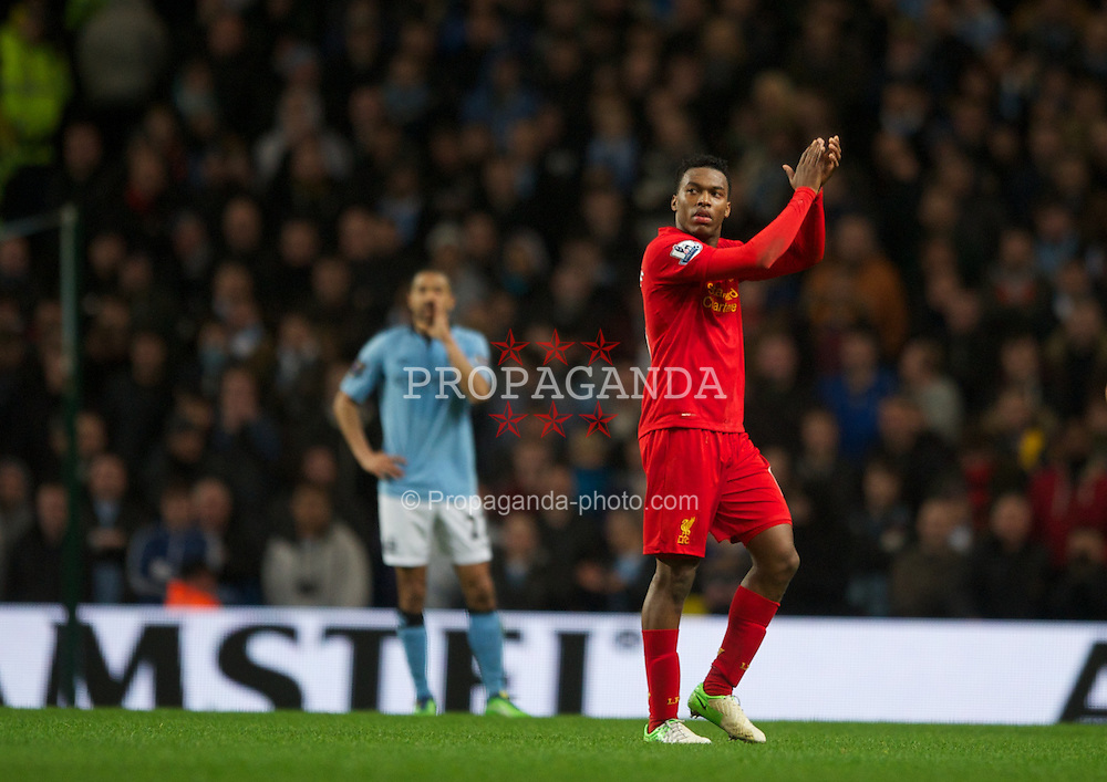 MANCHESTER, ENGLAND - Sunday, February 3, 2013: Liverpool's xxxx in action against Manchester City during the Premiership match at the City of Manchester Stadium. (Pic by Chris Brunskill/Propaganda)
