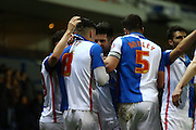 Blackburn Rovers celebrate during the Sky Bet Championship match between Blackburn Rovers and Birmingham City at Ewood Park, Blackburn, England on 8 March 2016. Photo by Pete Burns.