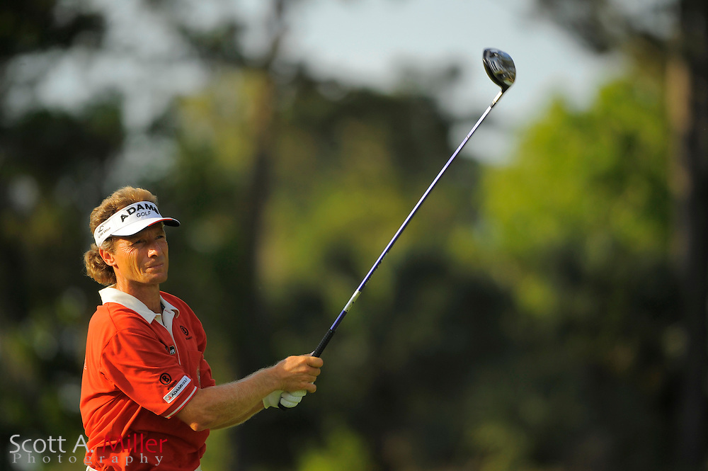 Bernhard Langer tees off on the 16th hole during the third round of the Players Championship at TPC Sawgrass on May 10, 2008 in Ponte Vedra Beach, Florida.     © 2008 Scott A. Miller