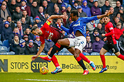 Lassana Coulibaly wins the ball  during the Ladbrokes Scottish Premiership match between Rangers and Kilmarnock at Ibrox, Glasgow, Scotland on 16 March 2019.