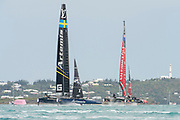 The Great Sound, Bermuda. 11th June 2017. Emirates Team New Zealand wins the start over Artemis Racing (SWE) in race six of the Louis Vuitton America's Cup Challenger playoff finals. ETNZ won the race to go ahead to 4 - 2.