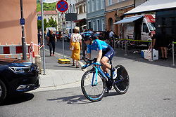 Lourdes Oyarbide (ESP) returns from a course recon at Lotto Thüringen Ladies Tour 2019 - Stage 5, a 17.9 km individual time trial in Meiningen, Germany on June 1, 2019. Photo by Sean Robinson/velofocus.com