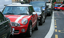 ©  London News Pictures 05/05/2011. Traffic slowly filters onto Euston road from Greys Inn road..The A501 Euston Road Underpass is closed westbound due to an traffic incident. 05/05/2011  Westbound traffic at Euston Underpass is being diverted via Gower Street causing heavy congestion around the surrounding roads. A white box van involved in the incident remains on the westbound lane of the Euston Underpass, both westbound entrance and exit ramps are covered with fuel or oil, the underpass remains closed. Photo Credit should read: Simon Lamrock/LNP
